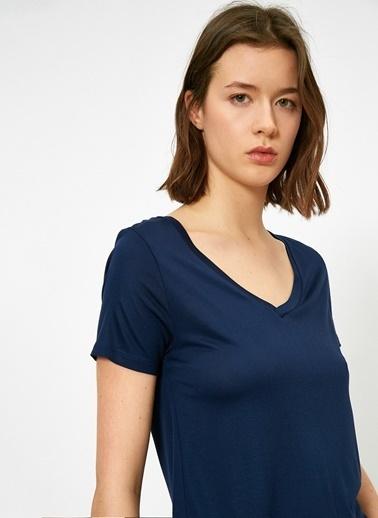 Koton Koton V Yaka Lacivert Basic T-Shirt Lacivert